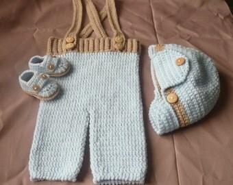 Crochet Baby detachable Suspender Pants,Moccasin Button Bootie, & Visor Ear Flap Cap Set