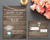 Rustic Wedding Invitation Outdoor Country Style Baby's Breath Country Wedding Invite RSVP Digital Printable Files _1233