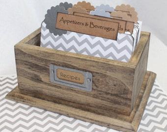 RECIPE BOX, Gray Chevron Dividers, Recipe Cards, Rustic Burlap Box, Rustic Chic, Gray Recipe Box, Grey Kitchen, Reclaimed Wood, Burlap