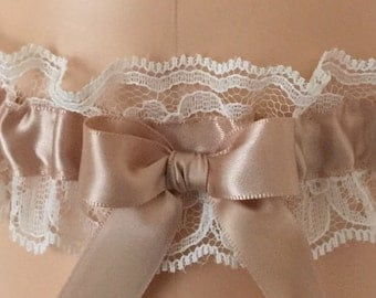 Tan and Ivory Lace Wedding Garter, Bridal Garter, Prom Garter, Garter Belt, Lace Garter, Plus Size Garter