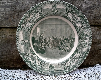 """CROWN DUCAL GREEN Colonial Times Dinner Plate, """"Marriage of Pocahontas"""", Green Transferware, English Transferware, Wall Display, Serving"""