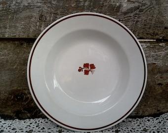 "Vintage Copper ""Tea Leaf"" Soup Bowl, Royal China Ironstone, G.H. Grindley & Co., Lustreware Ironstone,  England, Kitchen Decor, 8 7/8"" wide"