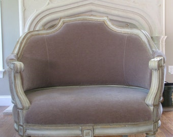French Settee Louis XV style with Mohair Velvet Upholstery