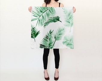 Palm Leaf Silk Scarf, palm silk scarf, square silk scarf, square palm scarf, palm leaf scarf, palm leaves scarf, tropical scarf