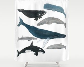 Whale Shower Curtain, nautical shower, nautical curtain, white shower  curtain, ocean shower curtain, white whale curtain, white whale shower