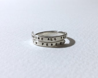 Imagine all the people living life in peace, handstamped Ring Sterling Silver, 925, handmade. Adjustable