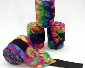 POLO LEG WRAPS - Neon Rainbow Tie Dye - Horse & Pony Sizes by BobbiGee's
