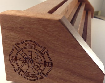 Natural Cherry & Oak Firefighters Challenge Coin Display for 15-21 Coins