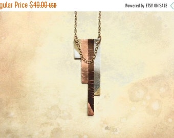 ON SALE Geometric Metallic Bronze Copper Silver Chain Statement Necklace | Handmade Fashion Statement Jewelry