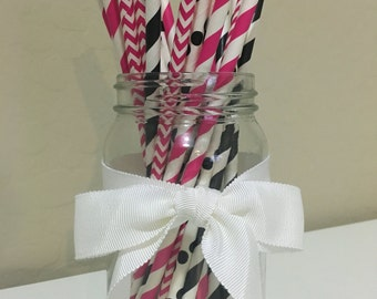 "25 ""Girlie & Glam"" Paper Straws / Cake Pop Sticks"