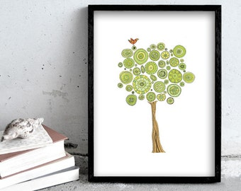 Tree art print, green tree illustration, nature print poster, bird print art, home decoration
