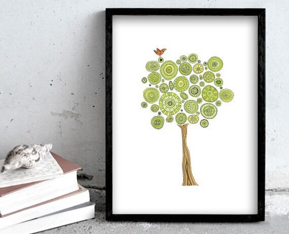 Tree art print, green tree illustration, nature print poster, bird print art, home decoration