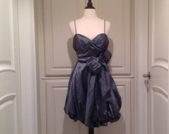 90s party dress, size LARGE / Balloon dress with sweetheart neck / Spaghetti straps /Prom mini dress