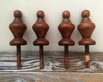 4 Stained Wood Finials/Spindles