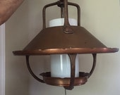 SALE-COPPER Lamp-1960s Western hanging lamp-frosted white glass-Mid Century retro home lighting-1960s modern