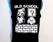 Upcycled Recycled Repurposed Mario Cotton Tank Shirt Size XL - Mario Shirt Mario Clothing Gamer Girl Geek Clothing Geek Fashion Harajuku