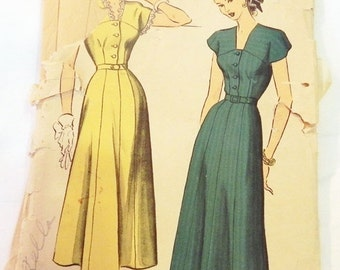 SALE 1940s Button Front Day Dress Plus Size sewing pattern Advance 5027 Size 20 Bust 38""