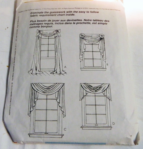 Window Curtain Drape Swag Jabot Valance Rosettes Sewing