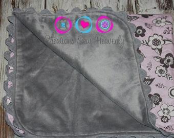 Custom handmade minky baby blanket