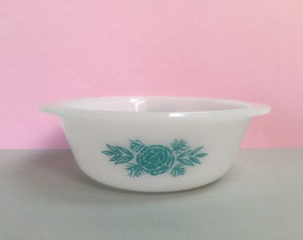 Agee/Crown Pyrex 'Vintage Rose' in turquoise, #CR212 round casserole (c. mid 1960s)