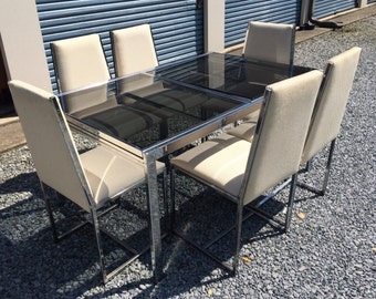 Milo Baughman Chrome & Smoke Glass Expandable Dining Table + 6 Chairs