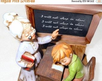 "ON SALE Vintage School Teacher Figurine ""School Daze"" 1975 Enesco @LootByLouise"