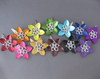 Aluminum Scale Maille Flower Hair Clips