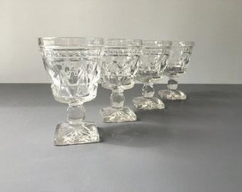 vintage Colony Park Lane wine glass goblets clear stemmed glasses set of 4 mid century