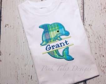 Split Dolphin Appliquéd Tee Shirt
