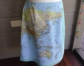 Map of the world upcycled skirt Size 14 with crochet embellishments 60cm in length +special order for Miriam+