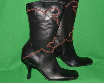 Vintage  Italy  Black  ALDO  All Leather Boots Very Soft Leather 1990s