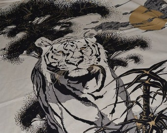 Tiger Fabric Panel for Sewing  Cotton Fabric Wildlife Japanese Style