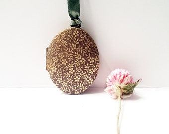 Natural Solid Perfume LOCKET Oval Raised Design Antique Bronze Finish Custom Perfume Jewelry