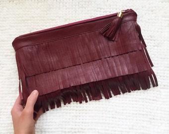 Merlot Leather Fringe Layer Clutch