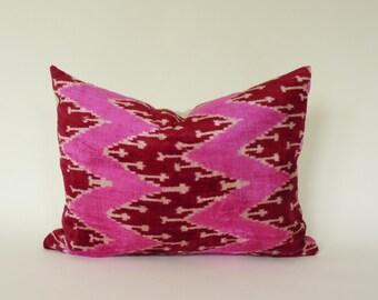 pink velvet ikat pillow case // pink ikat pillow cover // pink velvet cushion case