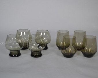 8 retro seventies drinking / soda  smoked brown glasses