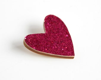 Dark Pink Glitter Heart Pin, Glitter Heart Brooch, Wooden Love Heart Brooch Pin, Valentines Pin