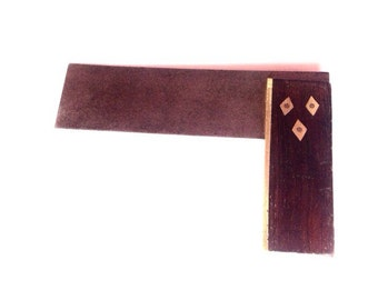 Vintage rosewood try square tool right angle carpentry toolbox garage workshop DIY tools brass
