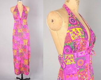 1970s Maxi Dress // Vintage Halter Dress // Hippie Style (medium)