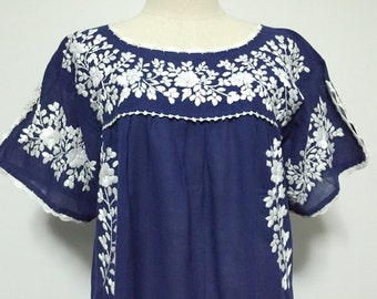Mexican Embroidered Dress Cotton Tunic In Blue, Boho Dress, Hippie Dress