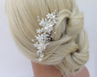 Crystal And Pearl Bridal Hair Comb, Wedding Hair Comb, Crystal Hair Comb, Swarovski Crystal, Freshwater Pearl, Bridal Hair Piece