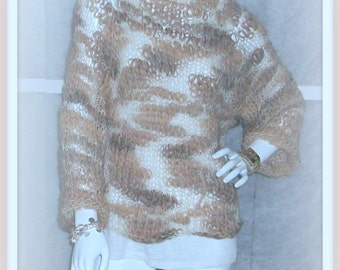 SWEATER WOMEN KNITTED  Boho  Grunge  Boxy  Cropped Shades of Beige  Pullover Loose knit  Thick and Thin yarn