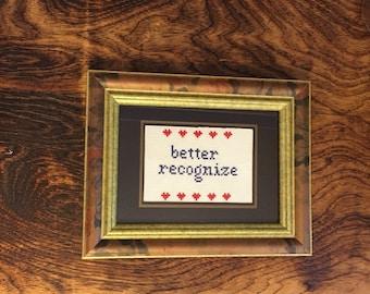Better Recognize Framed Cross Stitch