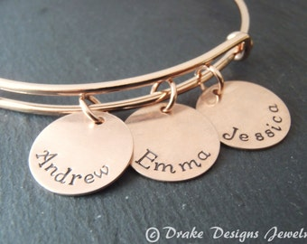 personalized rose gold bangle bracelet gift for mom mothers day gift