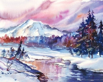 Paradise in the Winter - Mt Rainier in the Snow Watercolor Painting Print. Washington Snow Magenta Pink Purple Blue Mountain Watercolor Sky