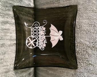 Tiny Smokey Glass Trinket Dish With Pink Flower Cart - Parisian Theme