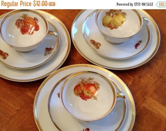 "SUMMER SALE Jaeger & Co. Golden Crown Bavarian China ""Harvest"" Gold Trim Pattern Dessert Trio or Snack Set With Cup, Saucer and Plate"