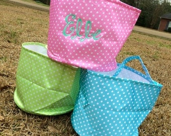 SALE--Polka Dot Patterned Fabric Easter Basket/Storage Basket/Nursery Accessory/Toy Storage