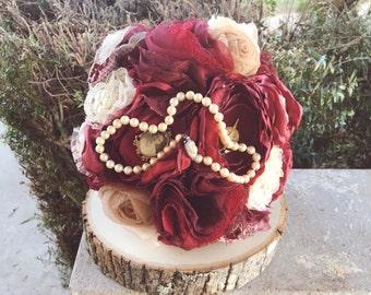 Vintage Lace Fabric Bouquet
