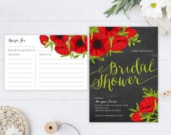 Chalkboard bridal shower invitations + recipe card | Red and black poppy wedding shower invites | Backyard wedding shower party